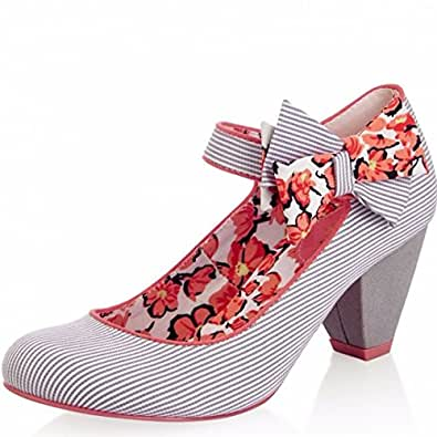 Ruby Shoo Piper Stripe Grey Coral Floral High Heel Shoes , 9