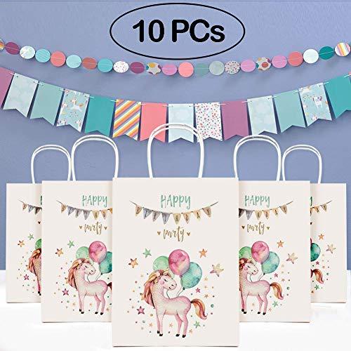 (Tacobear 10pcs Einhorn Papier Partytüten Geschenktüten Geschenktasche mit Griff Einhorn Party Geschenk für Geburtstag Hochzeit Weihnachten und Gastgeschenke)