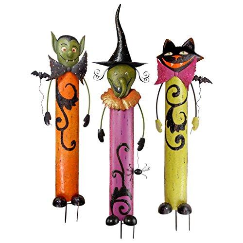 Design Toscano Halloween Gartenstäbe aus Metall: 3-er Set, Mehrfarbig, 10x35.5x124.5 cm