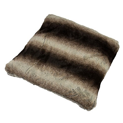 Faux Rabbit Fur Cushion Cover Pillow Case with Zipper 43x43cm Brown by Sabar (Faux Rabbit)