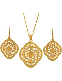 Maayra Filigree Pendant Set Golden Hand Crafted Wedding Pendant Set With Chain