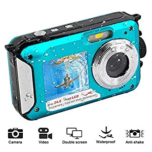 BEESCLOVER Underwater Camera Digital Camera 24 MP 1080P Camera with Selfie Mode Blue
