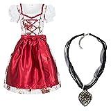 Dirndl Set 4tlg. Trachtenkleid Rosi weiß mit Rosendruck in rot + Dirndlkette 38