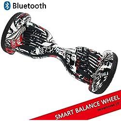 """Dragon Gyropode Hoverboard avec Roues de 10"""" Scooter électrique Scooter à équilibrage Automatique Smart Balance Board Scooter à équilibre Automatique (Pirate)"""