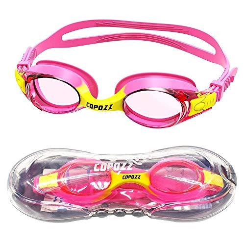 Jasbo Kinder Schwimmbrille, Copozz Swim Schwimmbrille für Kinder Junior Jungen Mädchen Alter Jahre Anti Nebel UV-Schutz kein Leck - Spiegel/Clear Lens mit Gratis Schutz Fall