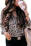 ECOWISH Damen Bluse Leopardenmuster Hemd V Ausschnitt Button Down Shirt Kragen Langarmshirt Oberteile Top 229 Khaki L
