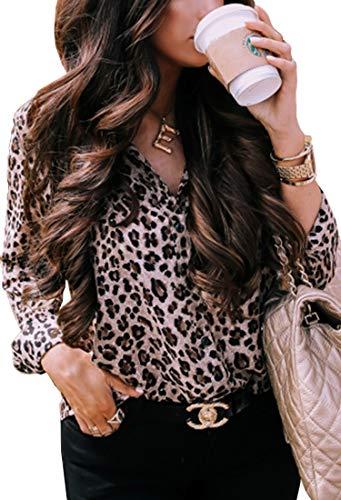 ECOWISH Damen Bluse Leopardenmuster Hemd V Ausschnitt Button Down Shirt Kragen Langarmshirt Oberteile Top 229 Khaki XL