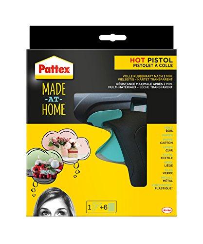 Preisvergleich Produktbild Pattex Made at Home Heißklebepistole / Klebepistole mit mechanischem Vorschub und hitzeisolierter Düse / Set mit Pattex Heißklebepistole + 6 Klebesticks, Ø 11 mm