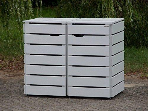 2er Mülltonnenbox / Mülltonnenverkleidung 120 L Holz, Deckend Geölt Lichtgrau - 2