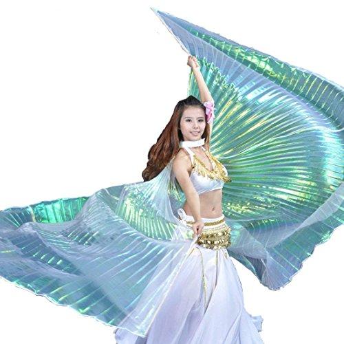 Calcifer® Marke neue Ägyptische Ägypten Belly Dance Flügel Isis Flügel Kostüm Geschenk für Big Party Weihnachten (Multicolor & Transparent Weiß)