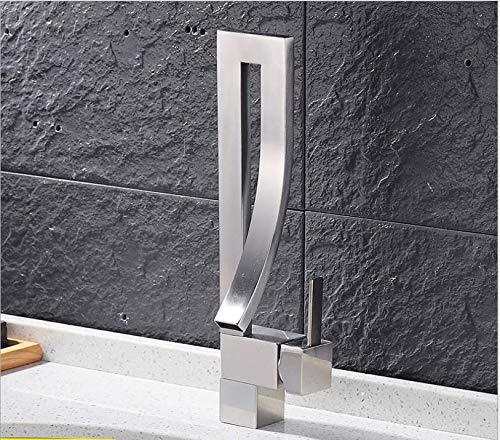 jukunlun Chrom/Pinsel Nickel/Schwarz/Orange Messing Badezimmer Platz Wasserhahn Luxus Waschbecken Mischbatterie Deck Montiert Warmen Und Kalten Mischbatterie Wasserhahn (Badewanne Pinsel Wasserhahn Nickel)