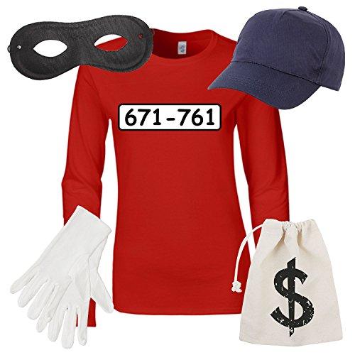 Damen Langarm T-Shirt Set Panzerknacker Kostüm Karneval Fasching Verkleidung Outfit SET06 LA-Shirt/Cap/Maske/Handschuhe/Beutel L
