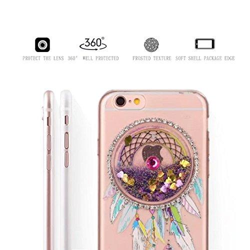 Glitzer iPhone 6S Hülle, MOMDAD Transparent Glitter TPU Flüssig Fließen Quicksand Liquid Treibsand Schutzhülle für iPhone 6S 6 Handyhülle Traumfänger Dreamcatcher Wind Chime Campanula Silikon Weich Ca Lila