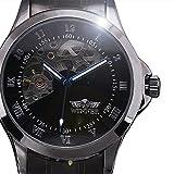 New Winner uomo orologio meccanico automatico quadrante con numeri romani neri in acciaio INOX da polso mano vento maschio orologio da polso Relogio Masculino