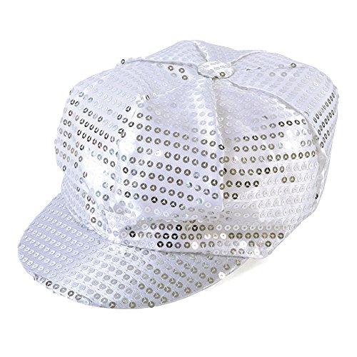 Bristol Novelty bh542Pailletten Cap 70's Stil Silber, One size
