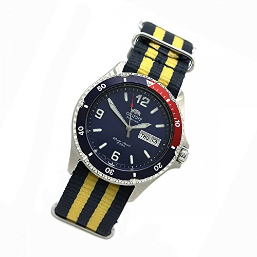 Orient 5 Deep Automatic Day Date Mako II Diving Watch Diver Men's Watch Nato Blue/Yellow FAA02009D