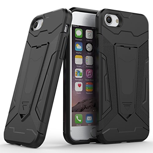 Custodia iPhone x , Gray Plaid Rugged Dual Layer Hybrid Full-body Protective Back Shockproof Armour Phone Case with Kickstand Function per iPhone x - Grigio Nero