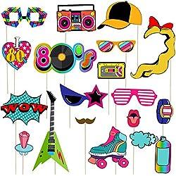 BESTOYARD 80er Jahre Party Photo Booth Props lustige 80er Retro Geburtstag Party Requisiten mit Holzstäbchen Kreative 80er Jahre Party Unter Dem Motto Dekoration 21PCS