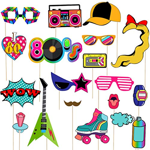 LUOEM 21pcs 80's Photo Booth Props Fiesta