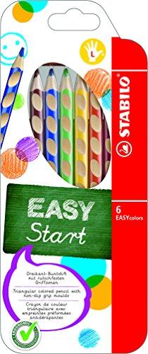 Matita colorata ergonomica - stabilo easycolors - per mancini - astuccio da 6 - colori assortiti