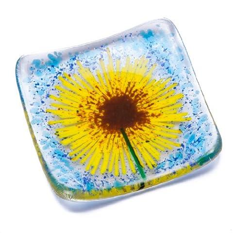 Sunflower fused glass earrings necklace jewellery trinket bowl