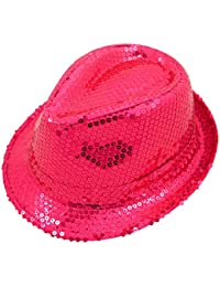 Wicked Fun Mens Ladies Trilby Hat Sequin Fedora Hat 1920'S Gangster Fancy Dress Dance Show Unisex Accessory (Pink)