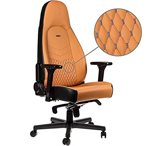 noblechairs ICON Gaming Chair - Cognac/Black/Gunmetal with Top Grain Leather, 2 Year Warranty, Up to 180KG Users, Perfect for an Executive Office Chair, Racing Seat Design