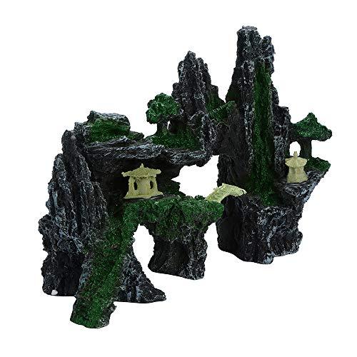 Wokee Aquarium künstliches Harz Stein,Wasser verschobene Stein-Dekoration,Verstecken Höhle Ornament,Mountain View