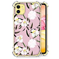 wonfurd Flower Girly Case voor iPhone 11 Glitter Case Meisjes Siliconen Gel Schokbestendig Helder Bloem Bloem, Transparant Leuke Bloemen Cover voor iPhone 11