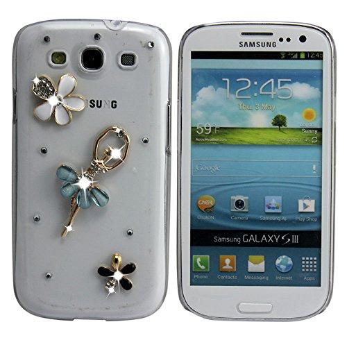 thematys Samsung Galaxy S3 (i9300 i9305) / S3 Neo (i9301i) Bling Luxus WEIß Schwarze Blume Hard Case Design Etui Schutz-Hülle Case Flip Tasche Cover