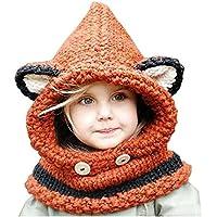 63052a34a2af Freessom Bonnet Echarpe Set Hiver Cagoule Renard Unisexe Bebe Enfant Garcon  Fille Mignon Kawaii Chaud Tricote