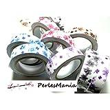 10 Rouleaux de masking tape, scotch adhesif coton FLEURS LIBERTY 15mm H088, DIY