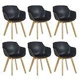EGGREE 6er Set Esszimmerstühle Skandinavisch mit Armlehne und Starke Buche Stuhlbeine, Modern Design Sessel für Büro Küche Wohnzimmer,Schwarz