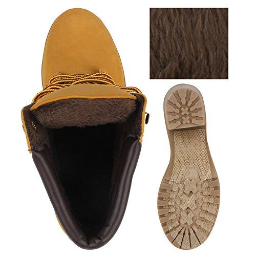 Damen Stiefeletten Blockabsatz Boots Schnürstiefeletten Hellbraun Pu0dLBj