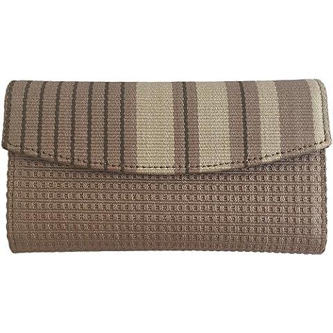 Portefeuille fait à la main pour femme Trifold Women's Wallet (Tan Stripes)