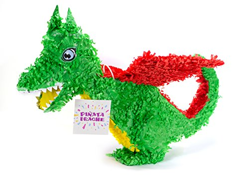 Trendario Dino Pinata Geburtstag, Pinjatta Drache zum Aufhängen, Ideal zum Befüllen mit Süßigkeiten und Geschenken - Piñata für Kindergeburtstag Spiel, Geschenkidee, Party, Hochzeit (Geburtstag Pinata Jungen)