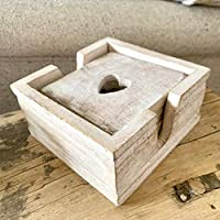 Set of 6 Wood Wooden Heart Cut-Out Drinks Cup Mats Square