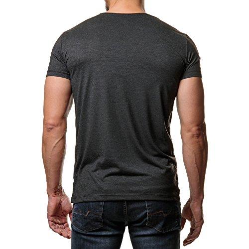 EightyFive Herren T-Shirt Basic Regular Fit Rundhals Kragen Schwarz Weiß Blau Beige EF-2823 Anthrazit
