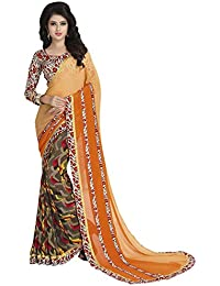 Kanchnar Women's Orange And Brown Georgette Printed Casual Wear Saree With Printed Un-stitched Cotton Silk Blouse...