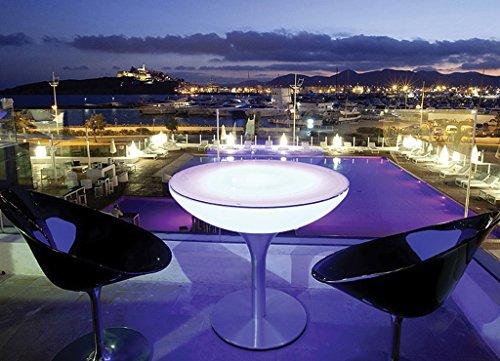 EEC A++, Moree Table de bar Lounge 75 Outdoor - Avec éclairage