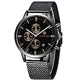 WISHDOIT Uomo Lusso Classico Impermeabile Analogico Quarzo Orologio Cronografo Con Moda Acciaio Inossidabile Nero Bracciali a Maglie 9834D