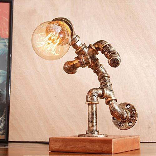 Im Alter Von Antiken Gold-finish (Jtivcs Industrielle Retro Runner Roboter Wasserpfeife Schreibtischlampe Antik Steampunk Eisen Metall Tisch Leuchte Bronze Finish Büro Schlafzimmer Nacht Leselampen E27 Edison mit Holzsockel)