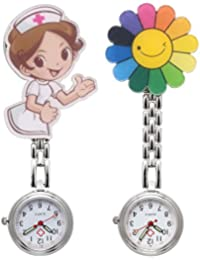 Flower Cartoon Nurse Clip-on Fob Brooch Metal Hanging Pocket Watch, 2pcs/Set