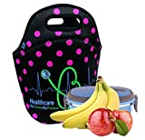 Color:Black/FuchsiaDot Bag sits upright so dishes won't tip over; store it flat or folded when empty. Machine washable, air dry. Soft-grip handles that makes carrying it a delight. Designed and tested to hold the most popular food containers with ext...