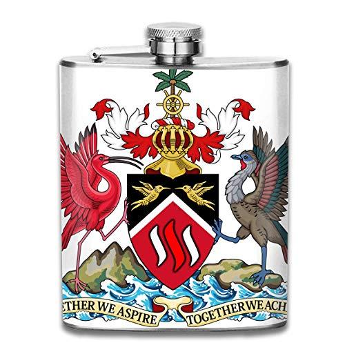 FGRYGF Edelstahlflasche, Whiskey Flask Vodka Alcohol Flask Trinidad and Tobago National Emblem Portable Pocket Bottle, Bag Bottle, Camping Wine Bottle, Suitable for Men and Women 7oz -