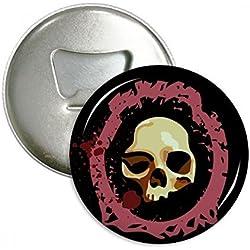 Realista redondo Calavera Halloween redondo abridor de botellas nevera Imán Pins Badge botón regalo 3pcs