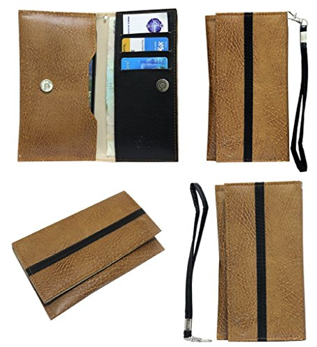 Jo Jo A5 S Series Leather Wallet Universal Pouch Cover Case For Panasonic T30 Tan Black