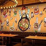 Sijoo Carta da Parati Tradizionale Cinese dell'alimento, Stanza dei Bambini, murale Dipinto a Mano del Fondo del Muro dei Graffiti del Ristorante dello spuntino del Piatto Caldo del Ristorante