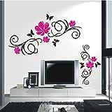 HomeTattoo ® WANDTATTOO Wandaufkleber Blumen Ranke 2 farbig Blumenranke Wohnzimmer Flur 366 XL ( L x B ) ca. 58 x 130 cm, 77 x 53 cm, Ranke schwarz / Blüten (grau 071)