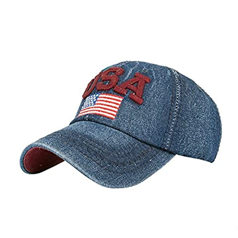 Ansenesna Frauen Männer USA Denim Strass Baseball Cap SnapBack Hip Hop Flat Hut (Red)